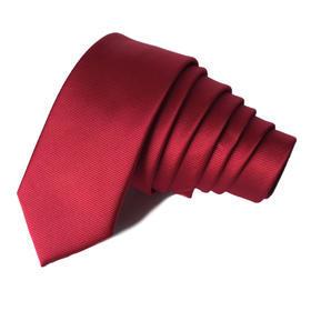 Kravata Slim hodvábna tmavá červená s pruhmi