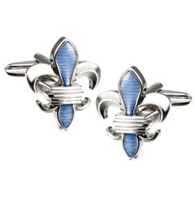 Manžetové gombíky leptón Blue Fleur De Lis