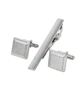 Ocelové manžetové gombíky s kravatovou sponou Colorado