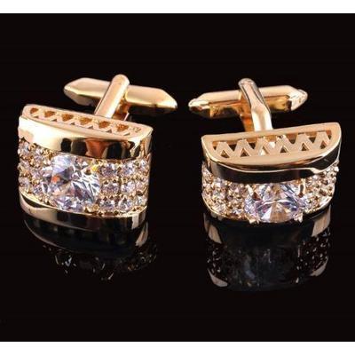 Manžetové gombíky luxusné zirkón zlatý