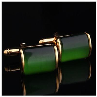 Manžetové gombíky zelený kryštál
