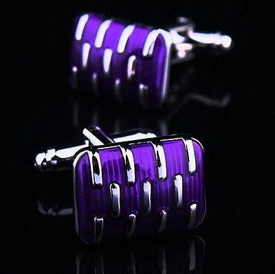 Manžetové gombíky svadobné fialové - 1