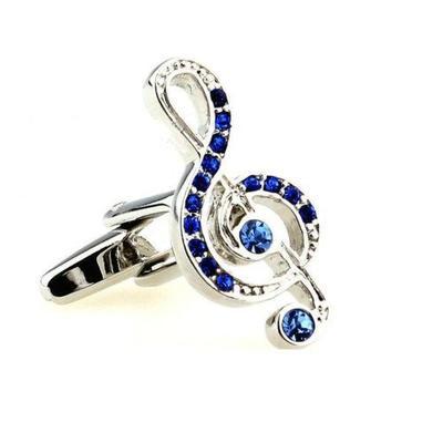 Manžetové gombíky husľový kľúč modré kamienky