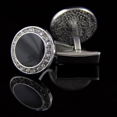 Manžetové gombíky okrúhly čierny kryštál s kamienkami oceľ