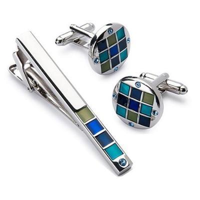 Manžetové gombíky so sponou na kravatu modrá mozaika