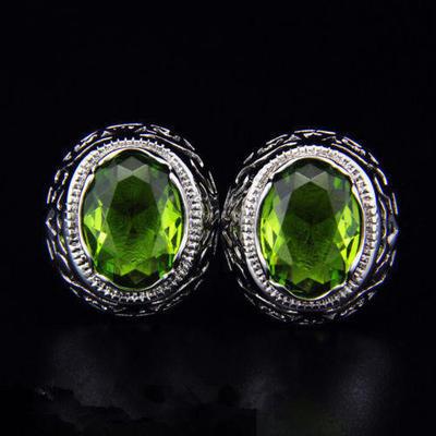 Manžetové gombíky zelený kameň