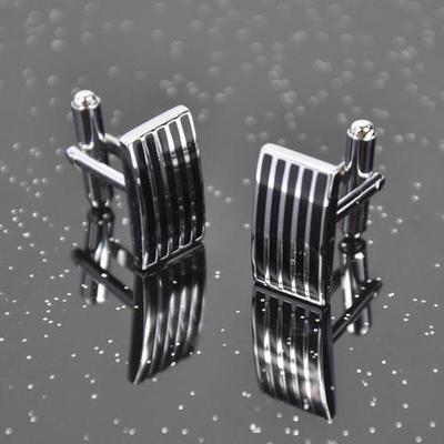 Manžetové gombíky ocel - prúžky