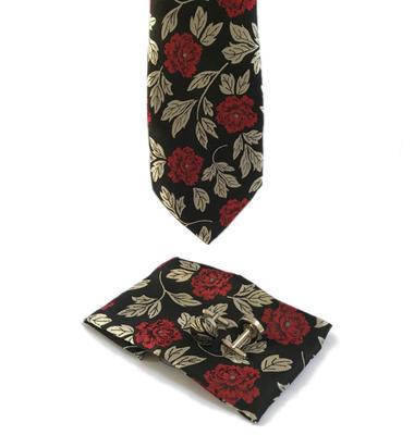 Luxusný set červeno šedé květiny
