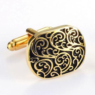 Manžetové gombíky rímsky vzor zlatý - 2