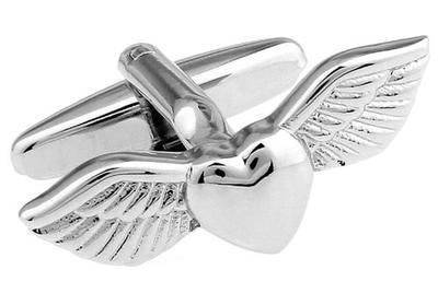 Manžetové gombíky srdce s krídlami - 2