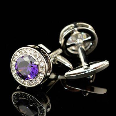 Manžetové gombíky fialový kryštál guľatý - 2