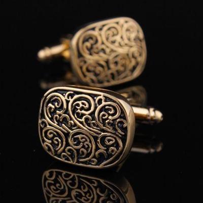 Manžetové gombíky rímsky vzor zlatý - 3